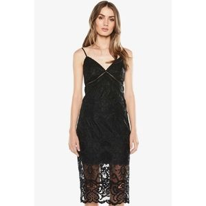 Bardot Lola Black Lace Midi Slip Dress